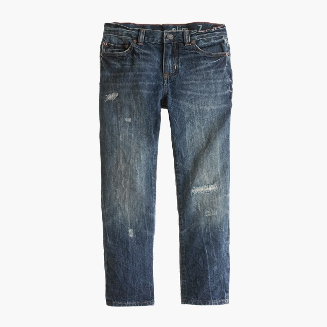 Boys' destroyed beat-up wash jean in slim fit