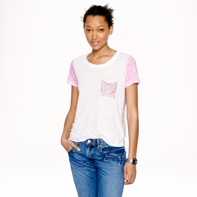 Linen ditzy floral T-shirt
