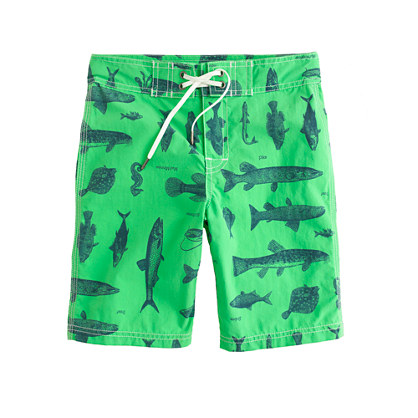 Boys' board short in fish print