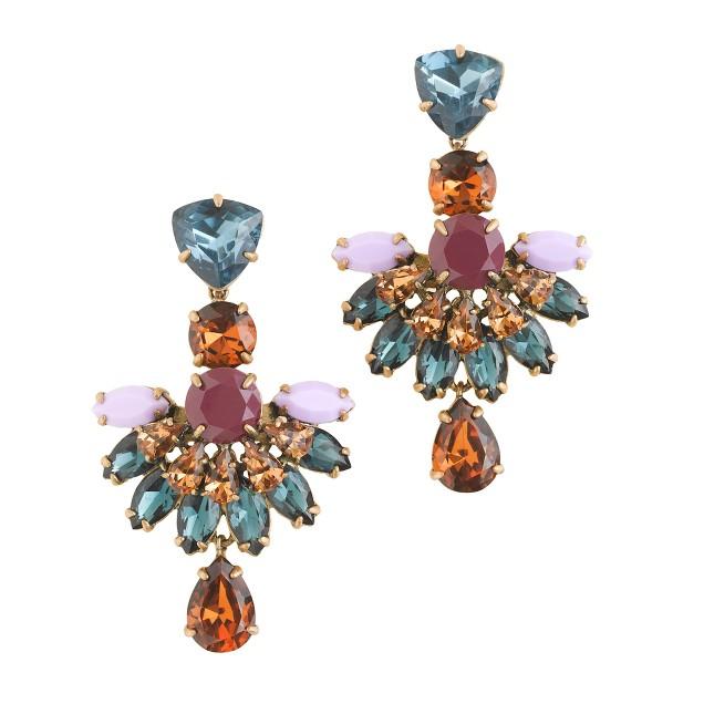 Jeweled fan drop earrings