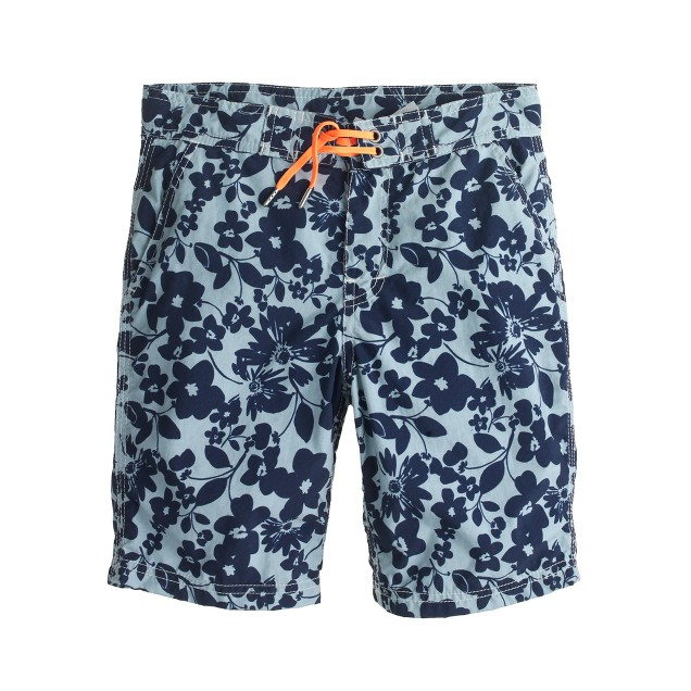 Boys' board short in tropical floral