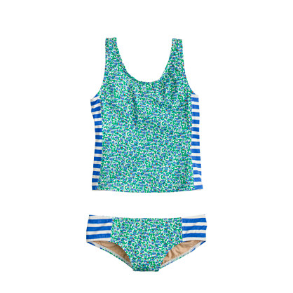Girls' tankini set in flowerpatch stripe