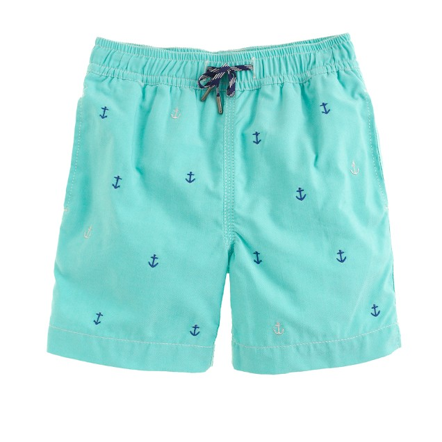 Boys' oxford cloth swim trunk in tiny anchors