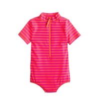 Girls' zip swimsuit in stripe