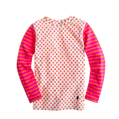 Girls' rash guard in floral stripe