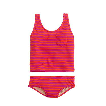 Girls' tankini set in stripe