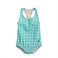 Girls' racerback one-piece swimsuit in polka dot