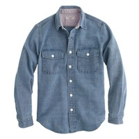 Wallace & Barnes CPO shirt in faded indigo
