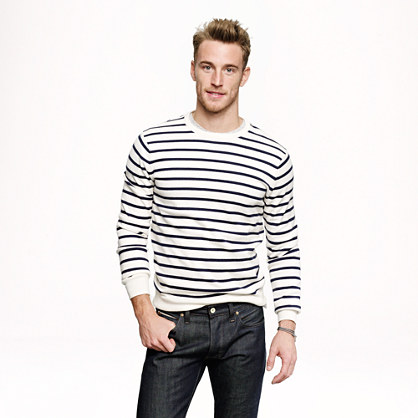 Cotton-cashmere sweater in nautical stripe