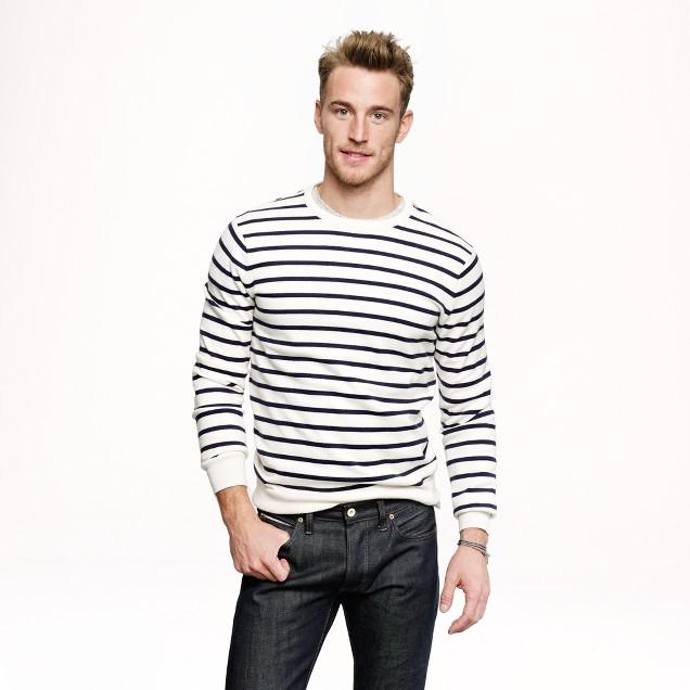 Cotton-cashmere sweater in nautical stripe