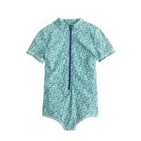 Girls' zip swimsuit in flowerpatch print