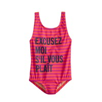 Girls' excusez-moi stripe tank