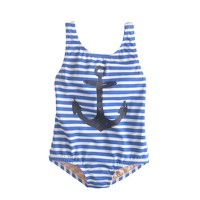 Girls' painted anchor stripe tank