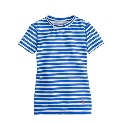 Girls' short-sleeve rash guard in thin stripe