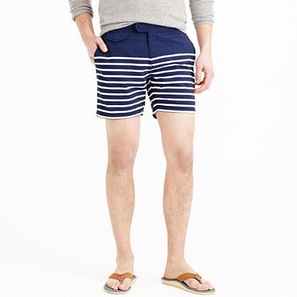 """6.5"""" tab swim short in navy stripe"""