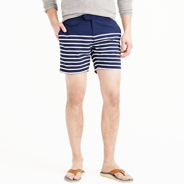 "6.5"" tab swim short in navy stripe"