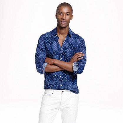 Slim cotton patchwork shirt