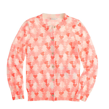 Girls' Caroline cardigan in neon heart