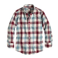 Boys' Secret Wash shirt in oversize tattersall