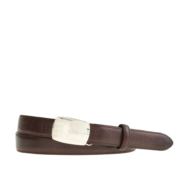 Italian leather belt with removable sterling-silver buckle