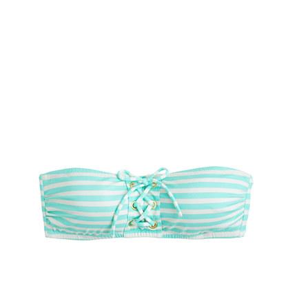 Sailor-stripe lace-up bandeau top