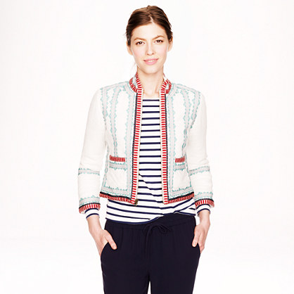 Collection embroidered linen jacket