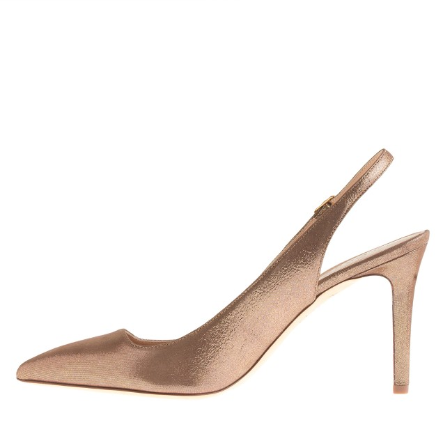 Metallic suede slingback pumps