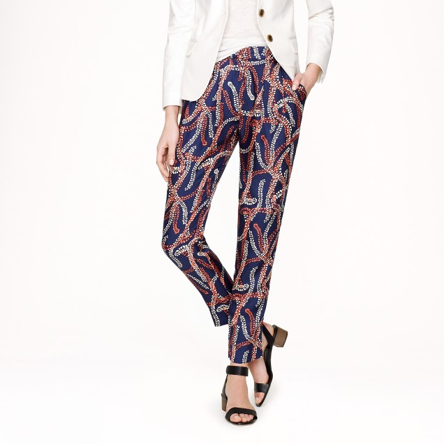 Collection silk trouser in abstract coral print