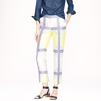 Collection wool-silk cropped pant in windowpane floral