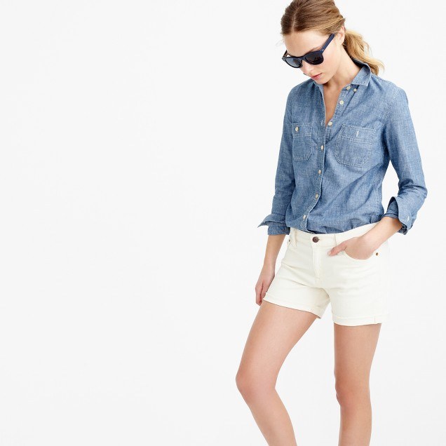 Denim short in ecru wash
