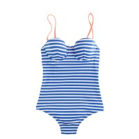 Sailor-stripe underwire one-piece swimsuit