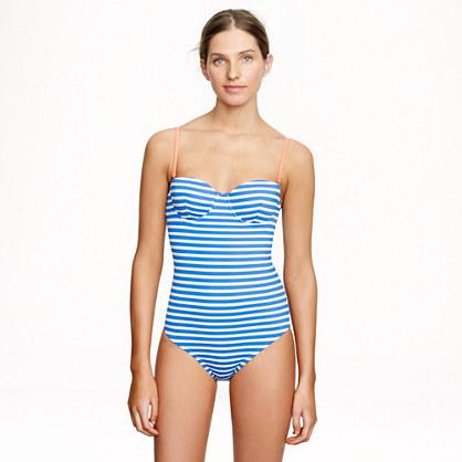 D-cup sailor-stripe underwire one-piece swimsuit