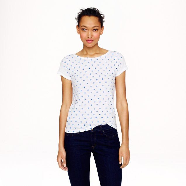 Vintage cotton cap-sleeve T-shirt in painted dots