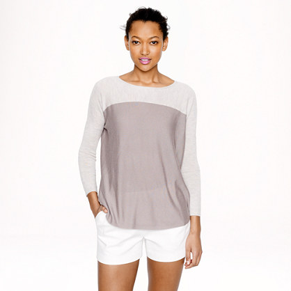 Collection featherweight cashmere swing sweater in colorblock