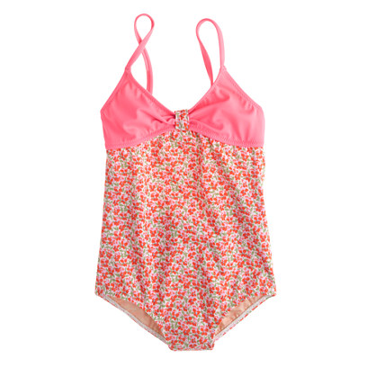 Girls' cutout one-piece swimsuit in flowerpatch print