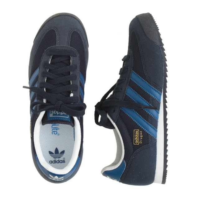 Kids' Adidas® Dragon sneakers in black and blue in larger sizes