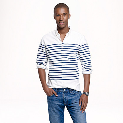 Slim vintage oxford shirt in horizontal stripe
