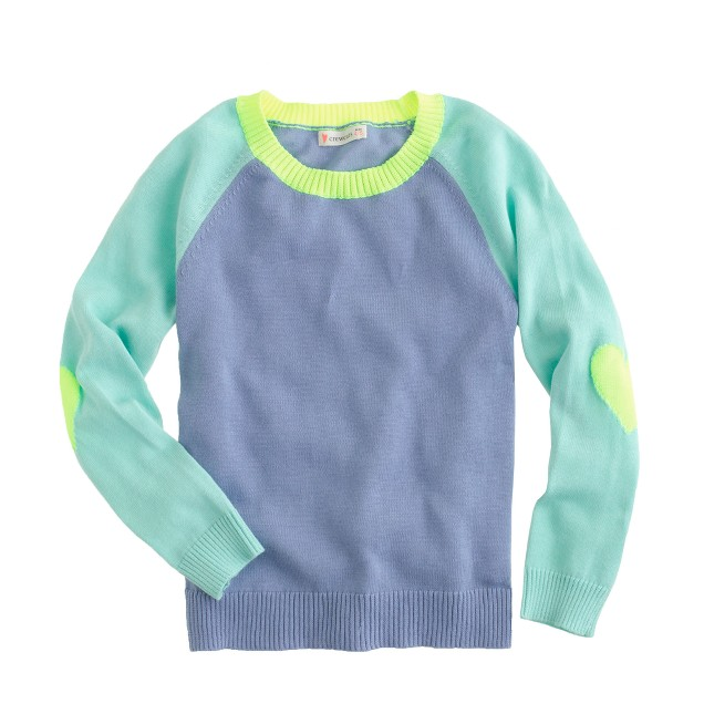Girls' colorblock raglan sweater