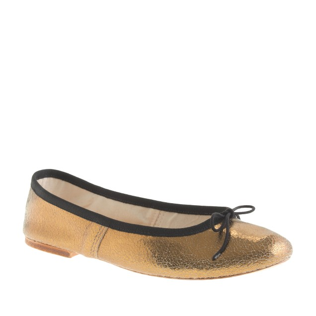 E. Porselli for J.Crew cracked metallic ballet flats