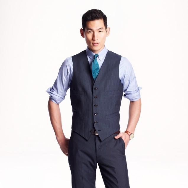 Ludlow suit vest in pinstripe Italian wool