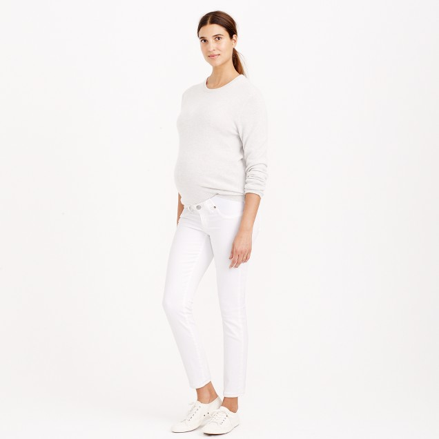 Tall stretch maternity toothpick jean in chalk