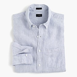 Slim Irish linen shirt in thin stripe