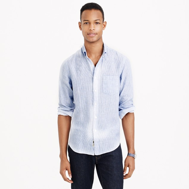 Irish linen shirt in thin stripe