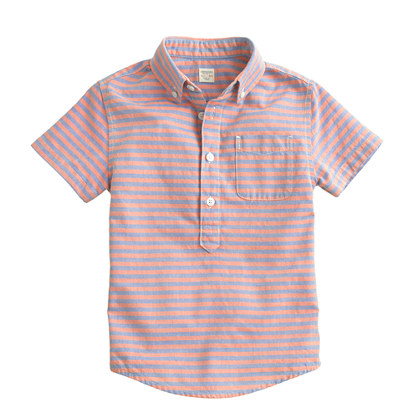 Boys' short-sleeve multicolor stripe popover