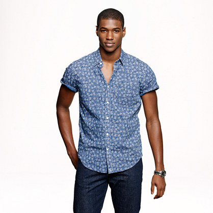 Short-sleeve shirt in indigo floral