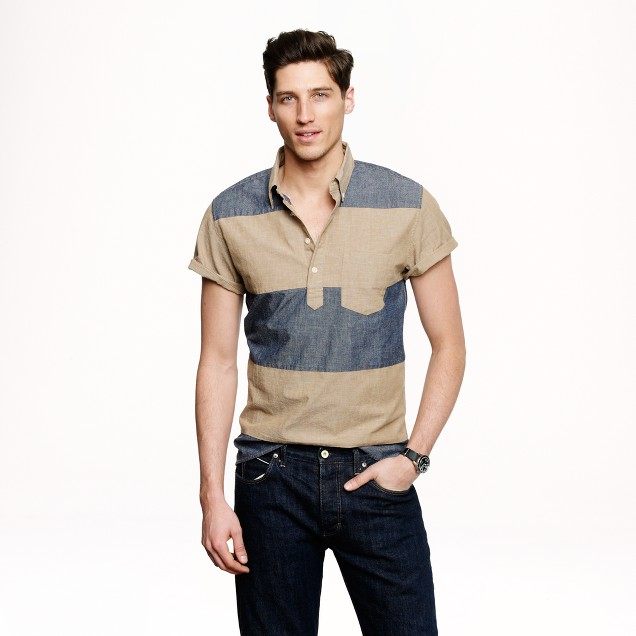 Short-sleeve popover in pieced chambray