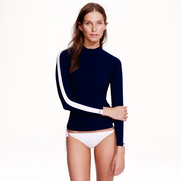 Stripe-sleeve rash guard