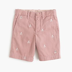 Boys' embroidered Stanton short in pirate skulls & crossbones