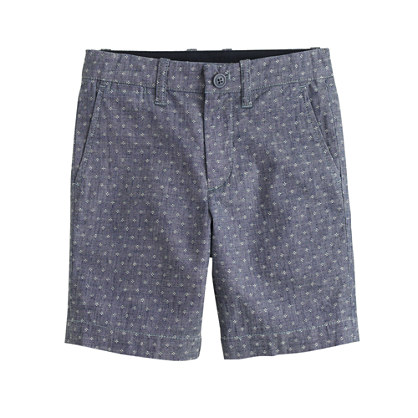 Boys' Stanton short in embroidered-dot chambray