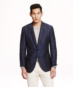 Ludlow Fielding sportcoat in microcheck English spring wool